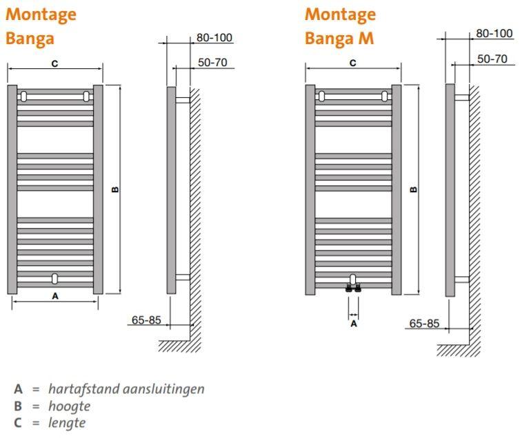Radson Banga Handdoekradiator.Radson Banga Badkamer Radiator 1222 X 500 Zij Aansluiting 529 W